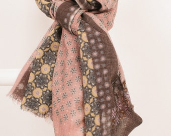 Orissa Pink fine wool scarf Marshmallow pinks and chocolate browns make for a mouthwatering combo! gorgeously soft, luxury feel KS36