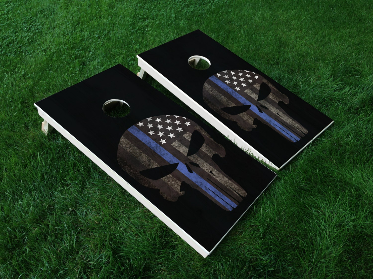 Thin Blue Line 02 Punisher American Flag Police Cornhole Wrap