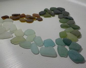 "50 pcs MIX color Sea Glass 0,8-1""- White, light blue, Green, brown Beach Glass-Bulk Genuine Sea Glass-For Jewelry Art Mosaic#246"