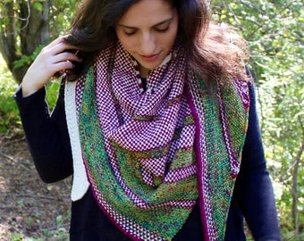 Thistle Shawl: an asymmetrical linen stitch triangle scarf **KNITTING PATTERN ONLY**