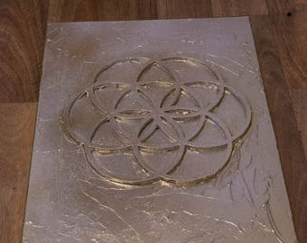 "Sacred Geometry Seed of life layered canvas panel 12"" x 16"" spray paint"