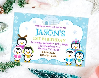 Baby's birthday invitation, winter party invitation, birthday party invitation, kid's birthday invites, 1st birthday invitation printable