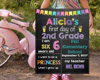 First Day Of School Sign, 2nd Grade Chalkboard Signs, Printable Back To School