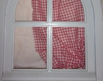 A fine old fabric for curtains, red and white checkered