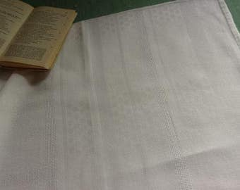 Tablecloth fabric, old French antique linen, damask, RB, monogrammed