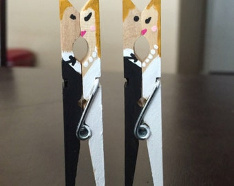 Set of 20 - Bride and Groom Clothespin Favors | Wedding Favors | Engagement Favor |