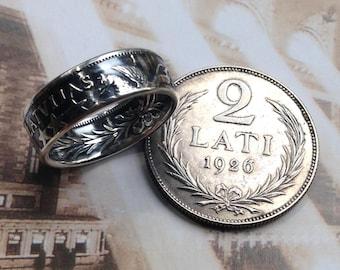 1925 - 1926 Latvia 2 Lati Coin Ring (83.5% Silver)
