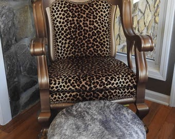 Western Brindle Cowhide Leather Hair STORAGE OTTOMAN Footstool Made USA New!!!