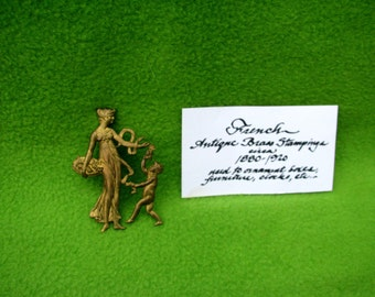 Antique Brass Stamping, Woman with Child, from late 1800's, Repurposed into pin in 1960's