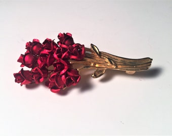 Vintage Red Rose Pin, Flower Pin, Red and Gold Brooch, Vintage Brooch, Rose Brooch, Rose, Rose Jewelry, Gifts for Her