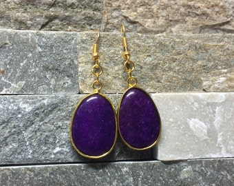 Earrings jade gold purple earrings
