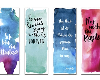 Bookmark set, 4 bookmark watercolor, watercolor bookmarks