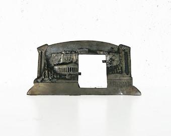 Vintage photo frame, Athens Greece, metal photo holder, folk art, Parthenon, Acropolis Athena Souvenir, photoframe