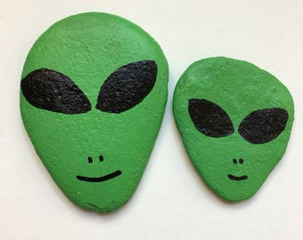 Green Alien Hand Painted Rocks~ 90's style Alien, UFO's, Nostalgia, Space Element (Akash), Home, Desk, Office décor, Art Collectible