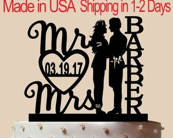 Firewoman & Barber Cake Topper, Wedding Cake Topper,  Bridal Shower Topper, Wedding Decoration, Custom Name Cake Topper, Silhouette,  CT172