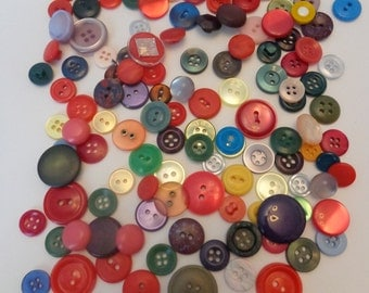 140 Colorful Red Mixture of Buttons Assorted Vintage Buttons Sewing Buttons Button Shop Bulk Buttons  Variety of Buttons