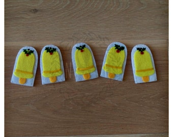 Five Christmas Bells Finger Puppets