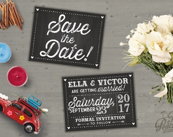 Digital Wedding Save the Date Card | Chalkboard Save the Date | Printable | Customizable