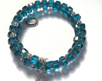 Rosary Bracelet Wrap,Blue Rosary Bracelet,Blue Rosary Beads,Catholic Rosary Bracelet,Catholic Gifts