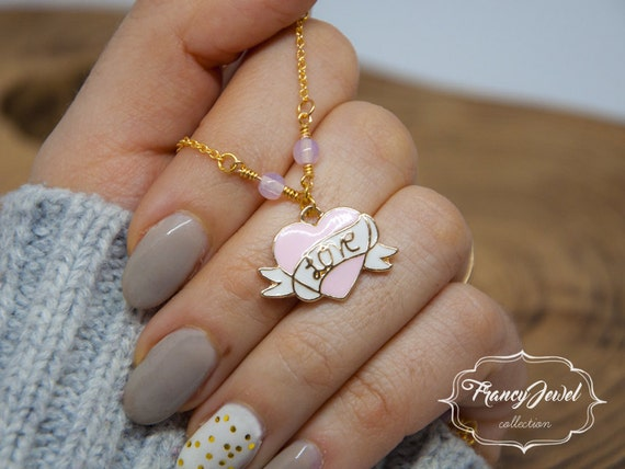 Heart necklace, gold necklace, pink, vintage necklace, made in Italy, birthday gifts, engagement gift, Valentine's gift, handmade jewelry