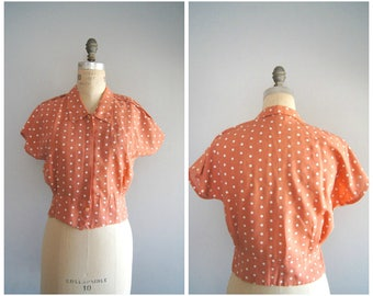 Vintage 80s Does 50s Peach & White Polka Dot Top