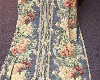 vintage 1940s floral barkcloth 96 inch denimblue rose bouquet nubby shabby cottage curtains drapes - 96 Inch Curtains