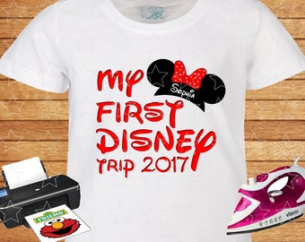 My First Disney Trip 2017. Any name. Minnie Mouse Ears. Personalized Family Shirts. Iron on Transfer, Printable.