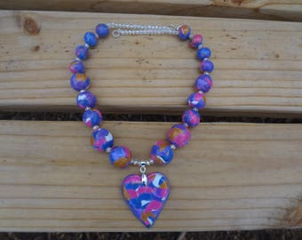 Hand made. Polymer clay. Necklace of Polymer Clay.