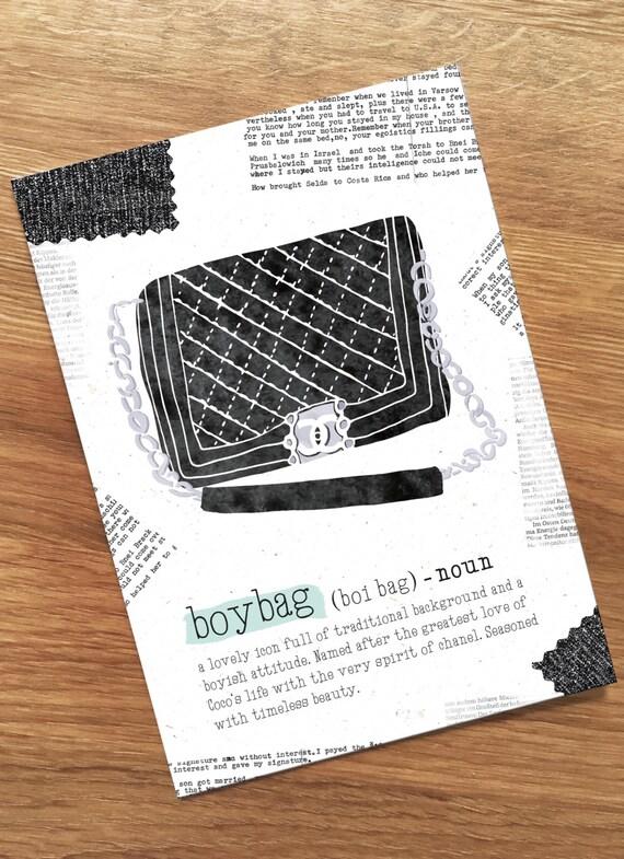 Chanel boybag Postcard, Fashion, Lifestyle, Definition, Illustration, Chanel lovers