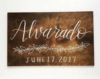 "Custom wood sign, wedding sign 12""x19"", stained wood with calligraphy, personalized couple sign"