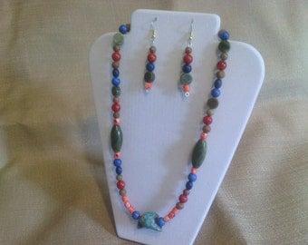 322 Multi Gemstone Jasper and Turquoise Beaded Necklace