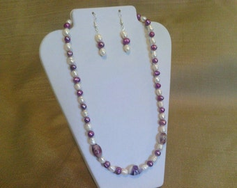 300 Victorian Style Two Toned White and Iris Colored Cultured Pearls and Lamp Worked Beads Beaded Necklace