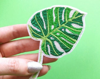 Monstera Plant Iron On Embroidered Patches Applique • Tropical Flower Liana Green Fashion Style Hippie