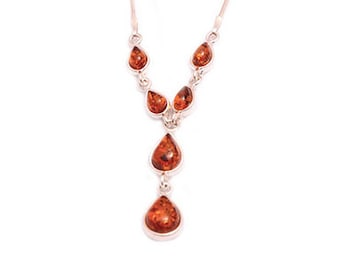 Silver natural amber 6 stone tear drop necklace