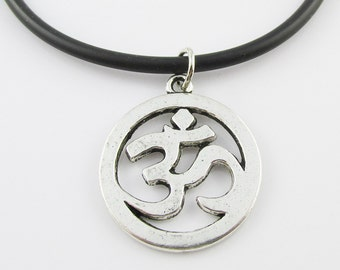 Aum Om Ohm Circle Charm Pendant  Necklace Meditation Black Cord