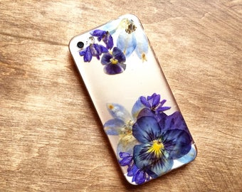 Phone case floral • Blue iPhone 6 case • Clear iPhone SE case • Pansy phone case • Pressed flower art • Delphinium phone case • Snap on case