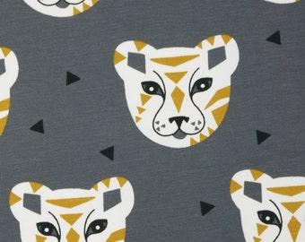 Jersey fabric Tiger tiger head tribal on grey - Jersey Oekotex100