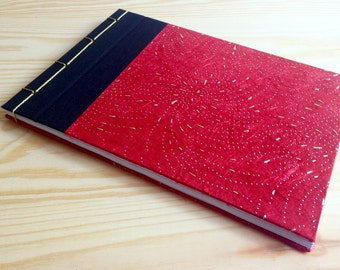Handmade notebook japanese style design size A5 paper textile fiber red gold black journal personalized original stationery design idea gift