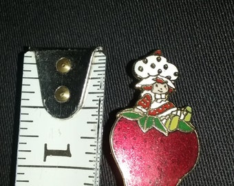 Vintage Cloisonne Collectible Strawberry Shortcake Brooch, Lapel Pin