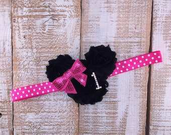 1st Birthday Headband, Minnie Mouse Inspired, Hot Pink & Black Headband, First Birthday Headband, Shabby Chic, Photo Prop, Cake Smash