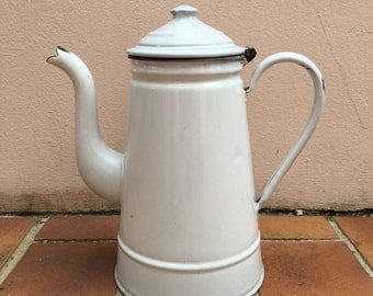 Vintage French Enamelware white Enamel Thea - water Pot - coffee