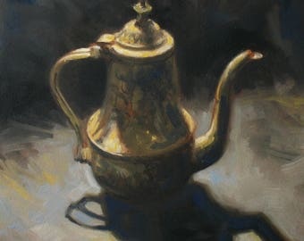 oil painting // still life of a tea kettle // artistic work of art // hand-painted impressionism contemporary art