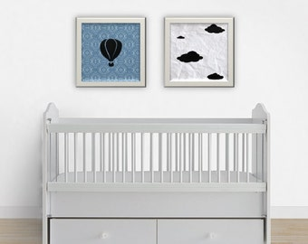 Hot Air Balloon Nursery Print Set - Baby Boy Print Set - Baby Boy Decor - Nursery Wall Art - Nursery Decor - Cloud Print
