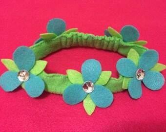 trolls headband, trolls hair bow, poppy headband, trolls party favor, flower headband, green headband, easter headband, baby headband