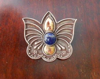 Silver & Gold Stylised Butterfly Brooch with Blue Lapis Cabochon, Possibly Indian