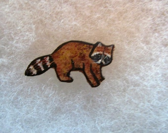 Racoon Jewelry Pin - handcarved and handpainted