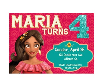 Elena Of Avalor Birthday Party Invite Digital file !
