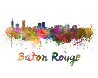 Baton Rouge skyline watercolor canvas,  Baton Rouge Canvas, Baton Rouge wall art, Baton Rouge Canvas Wall Art, Baton Rouge wall art canvas