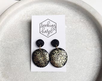 Black and gold earrings , sparkly gold earrings , statement earrings , black clay earrings