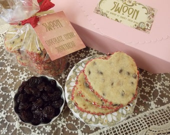 Chocolate Cherry Heart-Shaped Shortbread Cookie Gift Box ~ Wedding Cookies ~ Wedding Favors